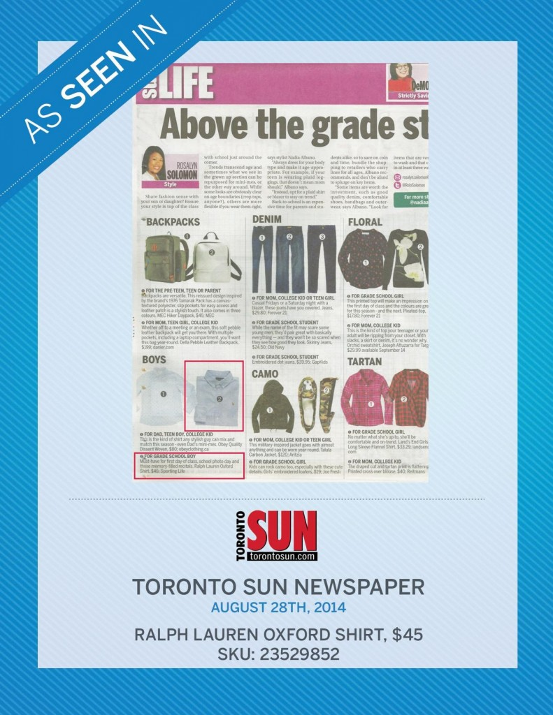 Toronto Sun Newspaper – August 28th, 2014