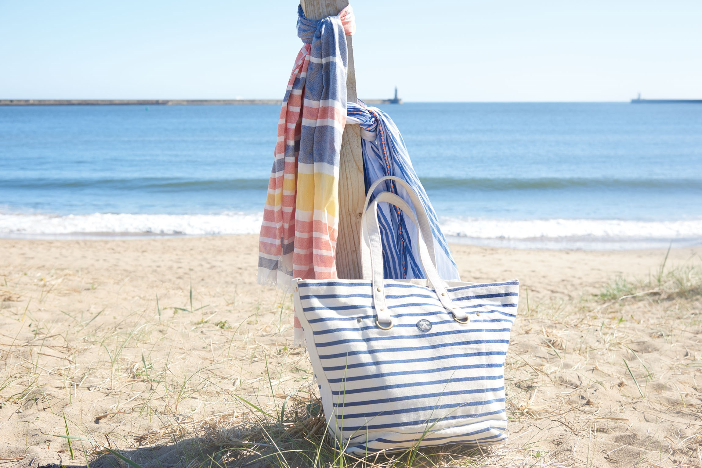 Barbour Sealand Stripe Tote LBA0250NY11 Navy Stripe Ecru Barbour Sealand Striped Wrap LSC0121BL11 Blue Marigold Stripe
