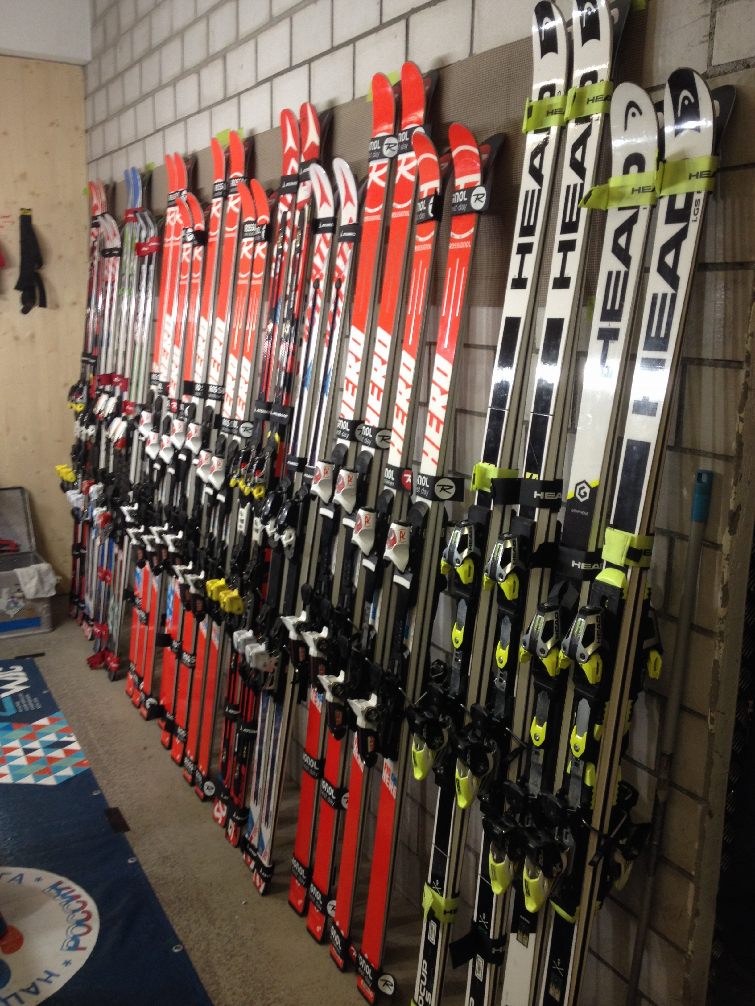 View of all the Super G and Giant Slalom skis used by the team.