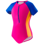 Speedo Girls' [2-3] Short Sleeve Zip One-Piece Swimsuit